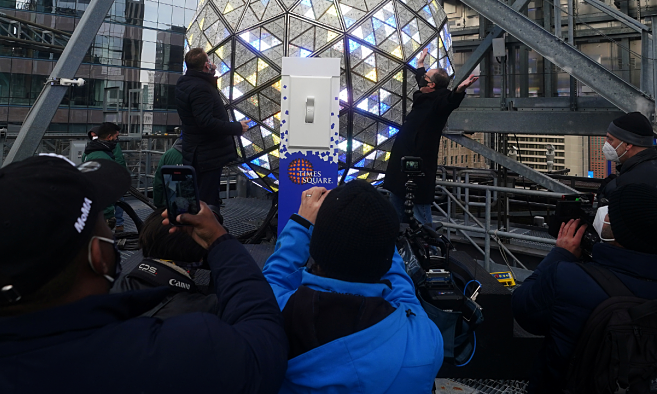 The Times Square ball is tested out for the media ahead of the New Years celebration in Times Square, New York. Photo by Reuters.