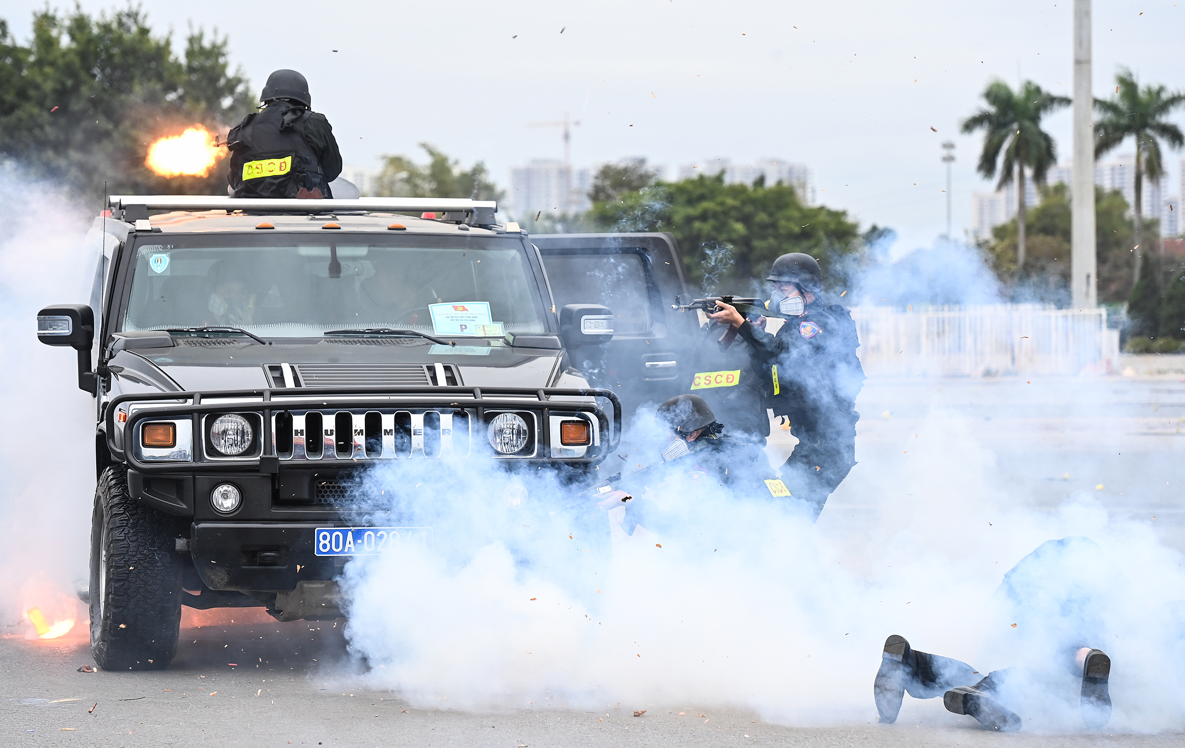 Security forces launch anti-terror drill ahead of National Party Congress