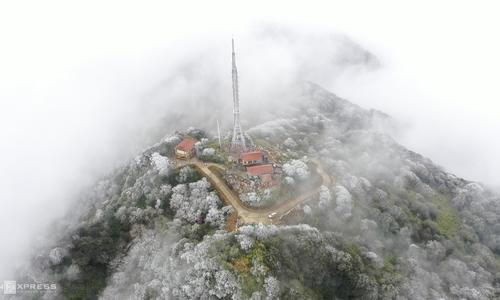 Phia Oac mountain range frozen in white frost