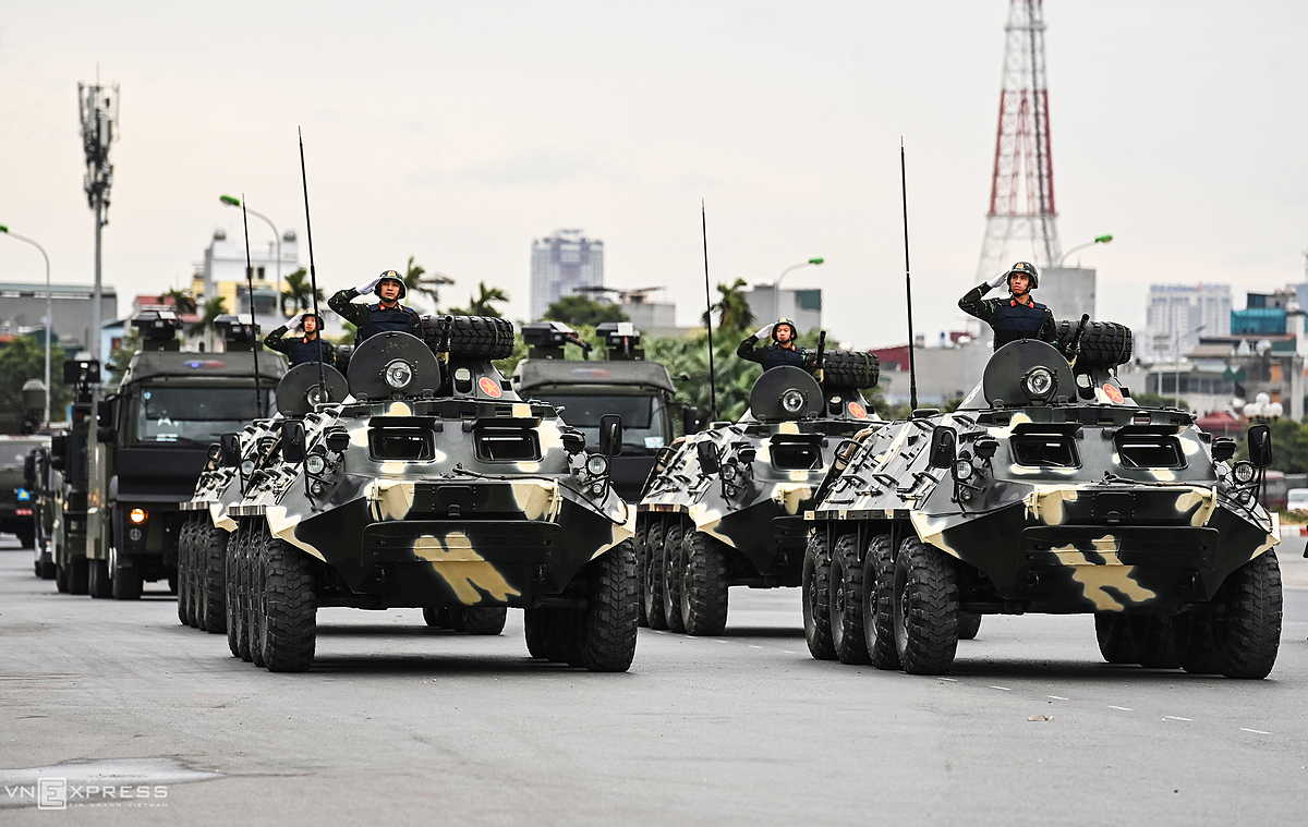 Four BTR-60 PB armored carriers are seen at a parade in Hanoi on January 10, 2020 ahead of the 13th National Party Congress. Photo by VnExpress/Giang Huy.