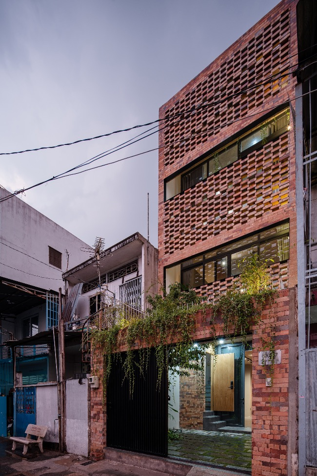The brick facade gives the house a distinctive look.