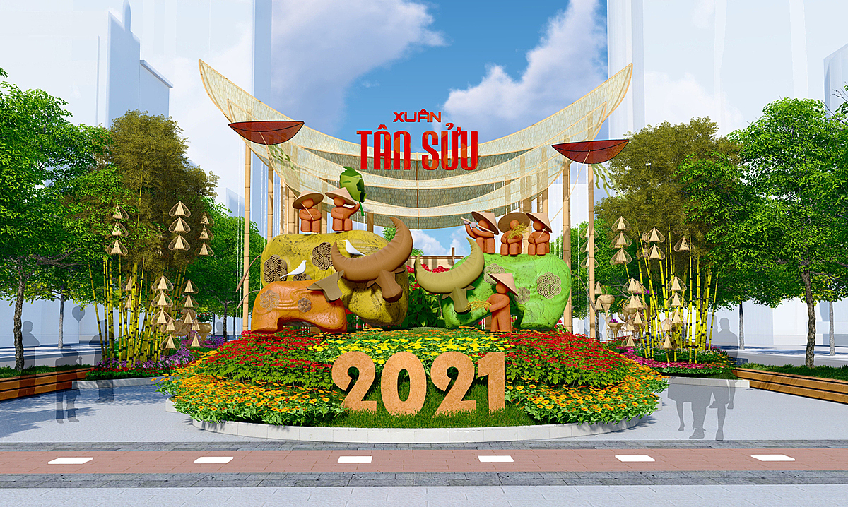 Nguyen Hue follows this year theme of Ho Chi Minh City: Civilization - Modernism - Love.The flower street for 2021 Tet (Luar New Year) holiday spreads over 720 m long and was designed with the expectation of giving people and visitors the feeling of a city full of vitality, dynamism, prosperity in harmony with its core cultural values.