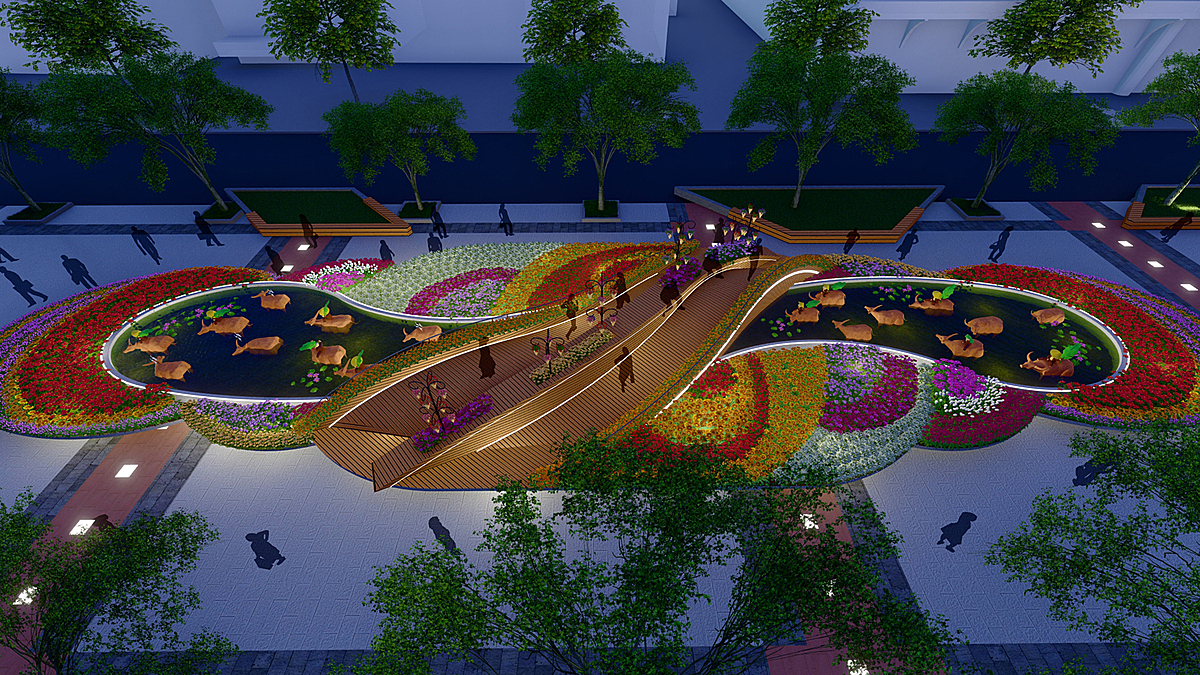 The top view of a design called Buffalo herding season, which is the iconic image of the Mekong Delta. The design go harmoniously with the bridge and the water, bringing both modern colors and preserving the traditional features of the southern region.