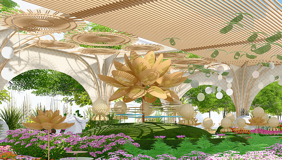 The Nguyen Hue Flower Street 2021 mainly uses organic materials, following organic architecture philosophy, and conveying green messages of eco-friendly lifestyle.