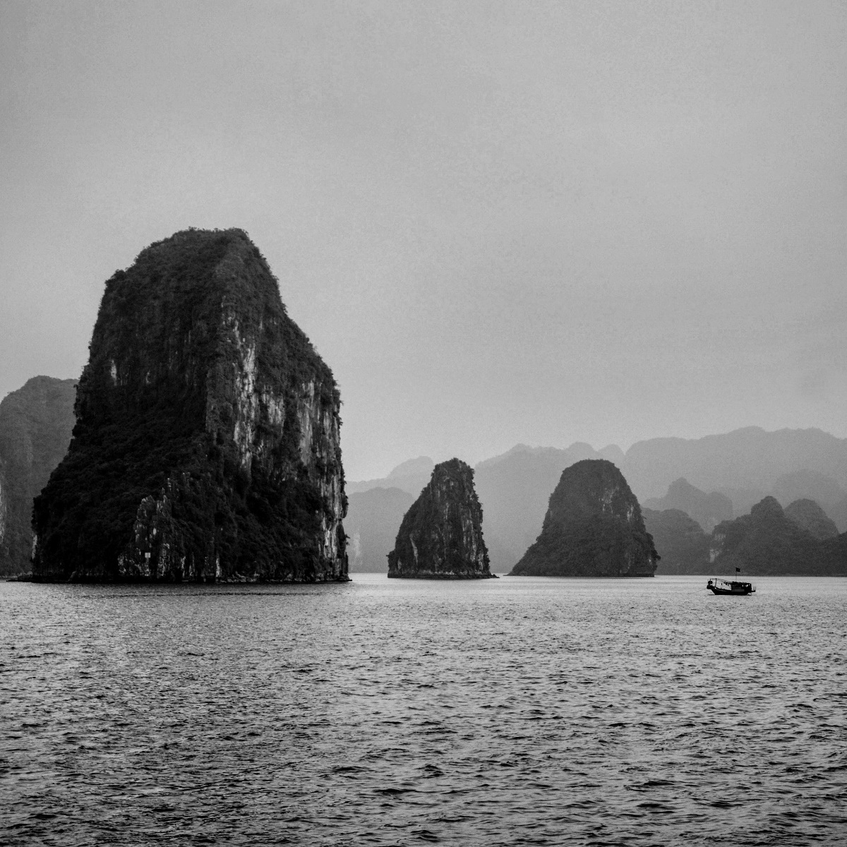 Ha Long Bay, a UNESCO natural heritage site in the northern province of Quang Ninh, in one early winter morning.