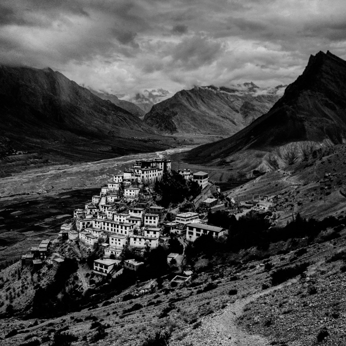 An ancient Buddhist monastery in Spiti valley in the Indian Himalayas. The region is cut off from the rest of the world by snow for almost six months in a year.