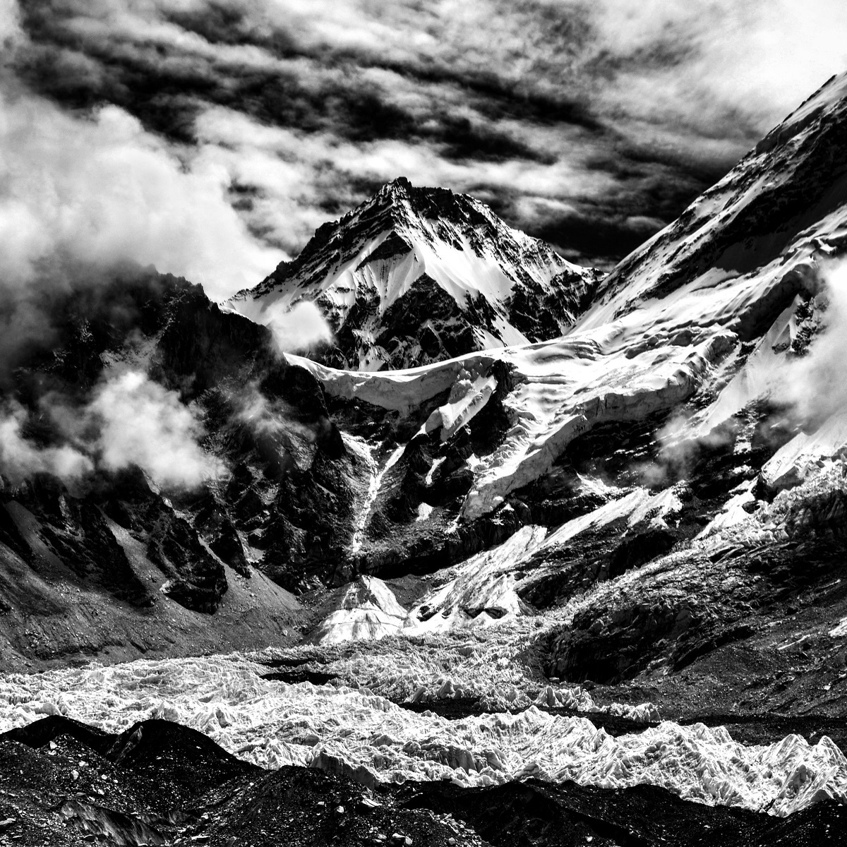 The Himalayas hosts the highest mountains in the world, with 50 exceeding 7,200 meters in elevation. It is home to 10 of the planets 14 highest peaks.  This picture is of Mount Everest, the highest of the Himalayan mountains. At an altitude of 8,850 meters (29,035 feet), Mount Everest is considered the highest point on Earth.