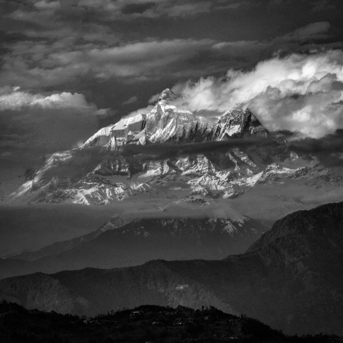 Machapuchare (Mount Fishtail) in the Annapurna massif of Gandaki Prades, north-central Nepal. The iconic peak reportedly has never been conquered.