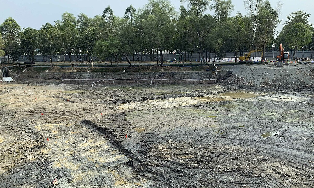 Part of the Gate 2 Lake at Bien Hoa Airport, Dong Nai Province, that has been cleaned from dioxin, January 20, 2021. Photo by VnExpress/Minh Nga.