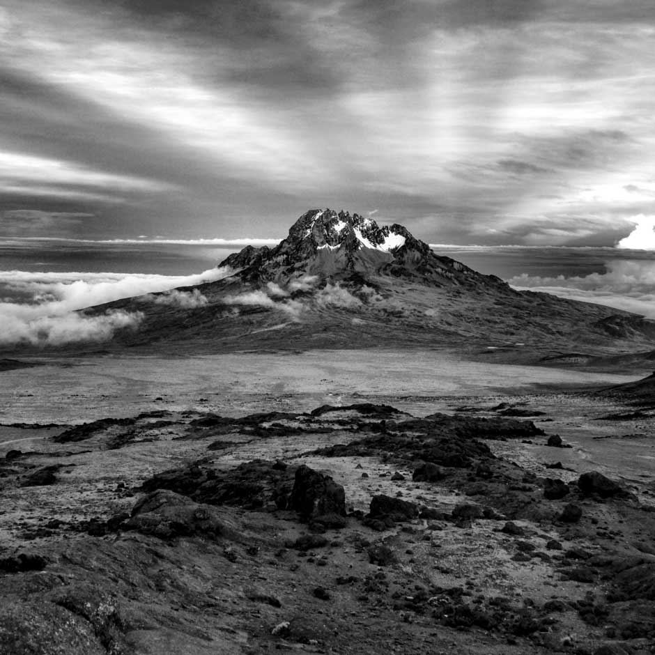 This picture was captured on his way to summit Mount Kilimanjaro in Tanzania.  The highest mountain in Africa, Kilimanjaro, has two peaks, Mawenzi (5,148 meters) and Uhuru (5,895 meters).