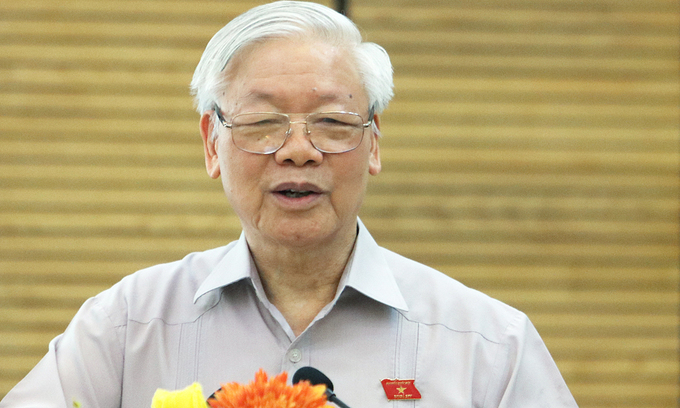 Party chief, President Nguyen Phu Trong speaks at a meeting with the people in Hanoi, October 14, 2020. Photo by VnExpress/Vo Hai.