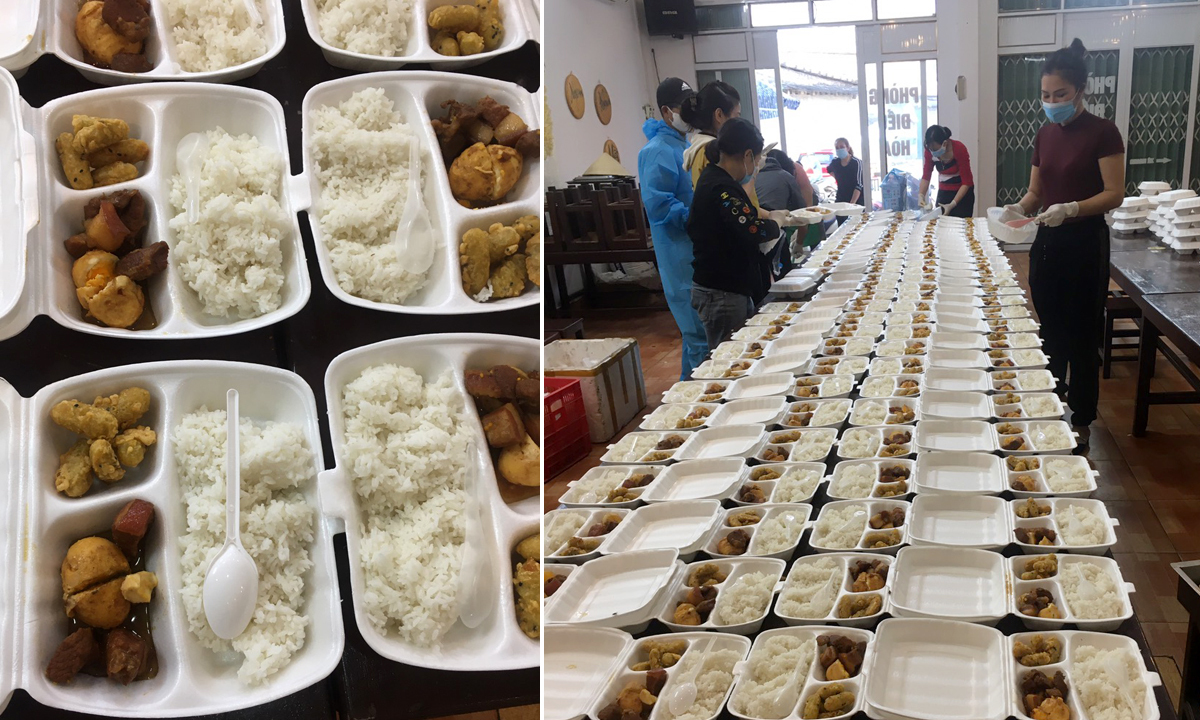 Volunteers prepairing foods for children undergoing quaranine in Hai Duong Province. Photo courtesy of Nguyen Thi Huyen.