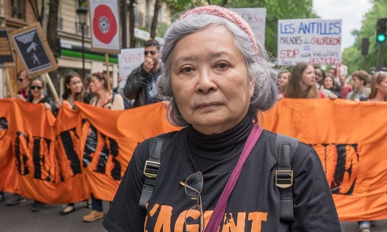 Tran To Nga during a rally to call for justice for Agent Orange victim in Paris, 2019. Photo by Collectif Vietnam Dioxine