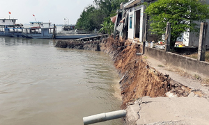 One injured after Mekong Delta erosion plunges homes into river