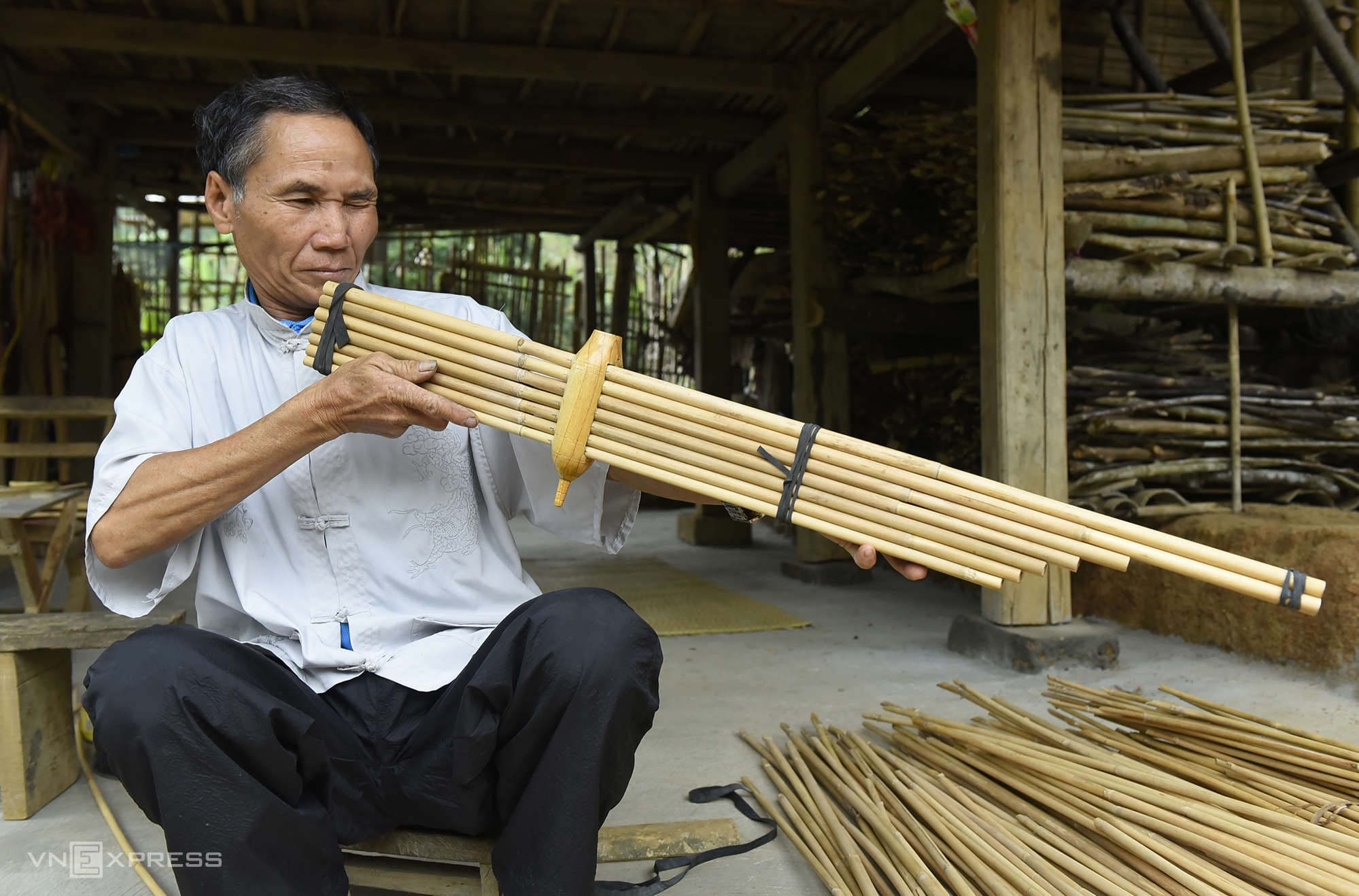 Besides making the instrument for personal use, he gives away or sells most of his khaens to those who share the same hobby. The most expensive one was sold for VND12 million ($518.2).  Playing the khaen is a hobby that's good for your health, helps increase life expectancy and preserves a part of our ancestral traditions, Tinh maintained.