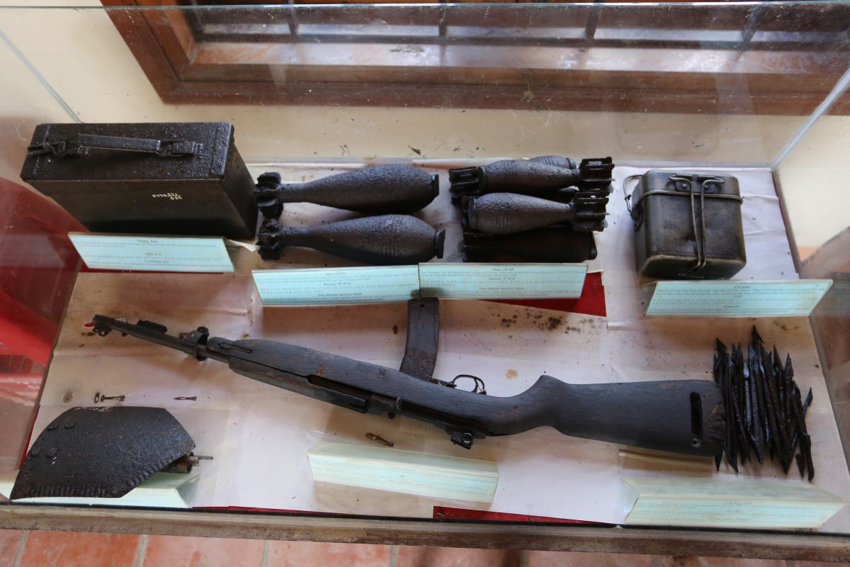 Weapons and other war remnants found during the renovation of the tunnel are on display.