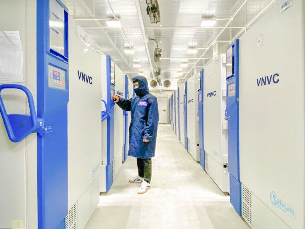A VNVC staff inside a VNVC's super-cold storage in HCMC. In all, its 51 freezers and three super-cold storage of VNVC could store up to 170 million vaccine doses at once.