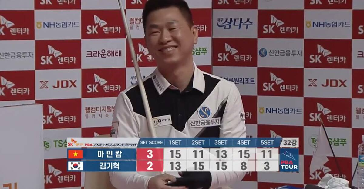 Cuiest Ma Minh Cam beats Kim Ki-Hyok 3-2 on Feb.25, the first day of PBA World Championship 2020-2021 in South Korea.