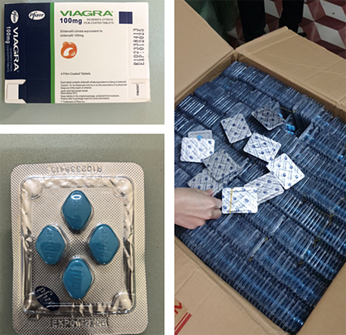 The counterfeit Viagra as seized by police in Gia Lai Province, February 2021. Photo by police
