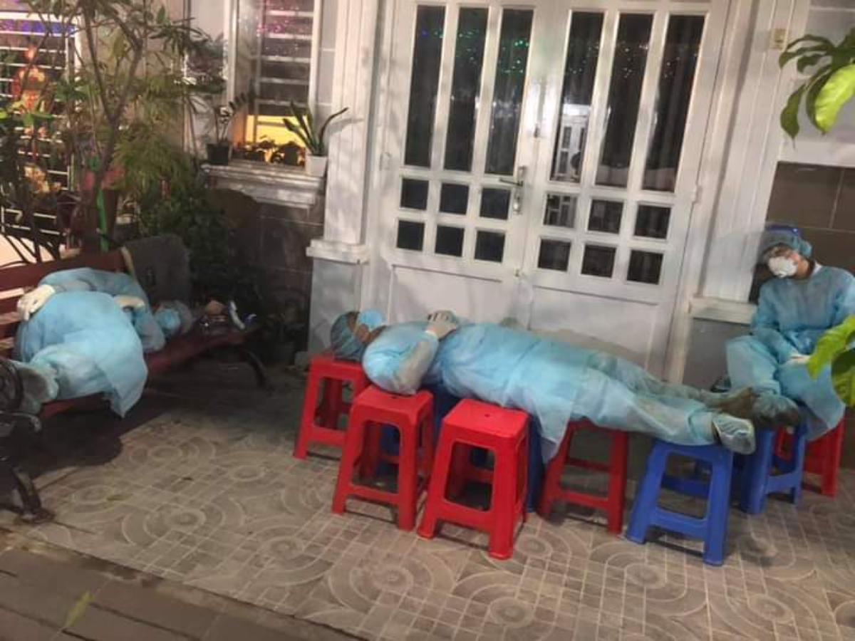 Medics at Binh Thanh District sleep whenever they have time to. Photo courtesy of Le Thanh Dat.