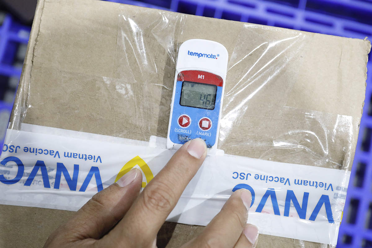 Each package of vaccine is attached with a temperature measuring device. If the temperature exceeds the allowable limit (2-8 degrees Celcius), this device will raise alarm, which means the shipment is not eligible for vaccination.