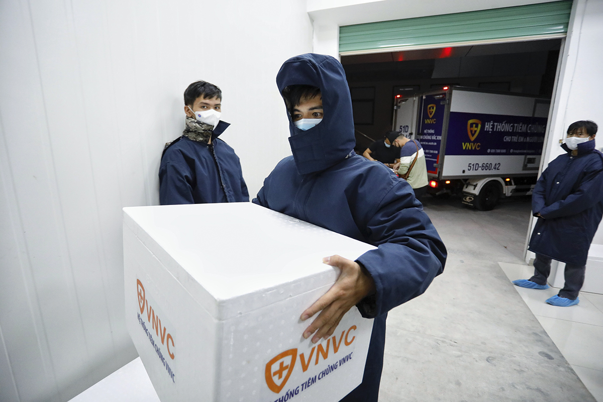 Tran Han Tuan, 37, head of the warehouse department in southern Vietnam of VNVC, said the truck is parked 2.8 meters away from the freezer's door and the maximum time for one staff to carry a box of vaccine from the freezer to the truck is just ten second. Therefore all movements must be especially quick and accurate. We have been way too familiar with this step and have yet to make any mistakes but until today we are still quite nervous because the entire nation is counting on this first batch of vaccine, he said.