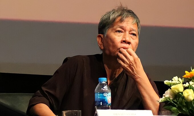 Nguyen Quang Thiep at a literature event in 2018. Photo by VnExpress/Ha Do.