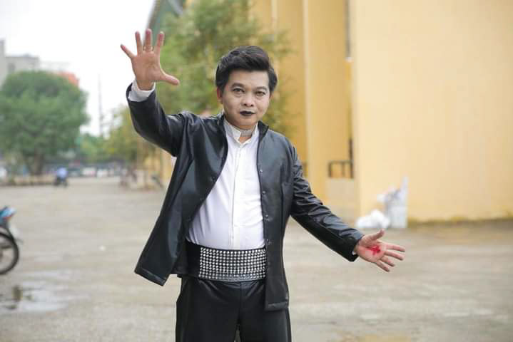 Duy gets dressed up to play his magician role. Photo courtesy of Duy.