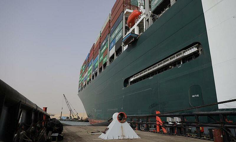 Stranded container ship Ever Given of Taiwanese firm Evergreen Marine Corporation, one of the worlds largest container ships, is seen after it ran aground, in Suez Canal, Egypt March 25, 2021. Photo courtesy of the Suez Canal Authority.
