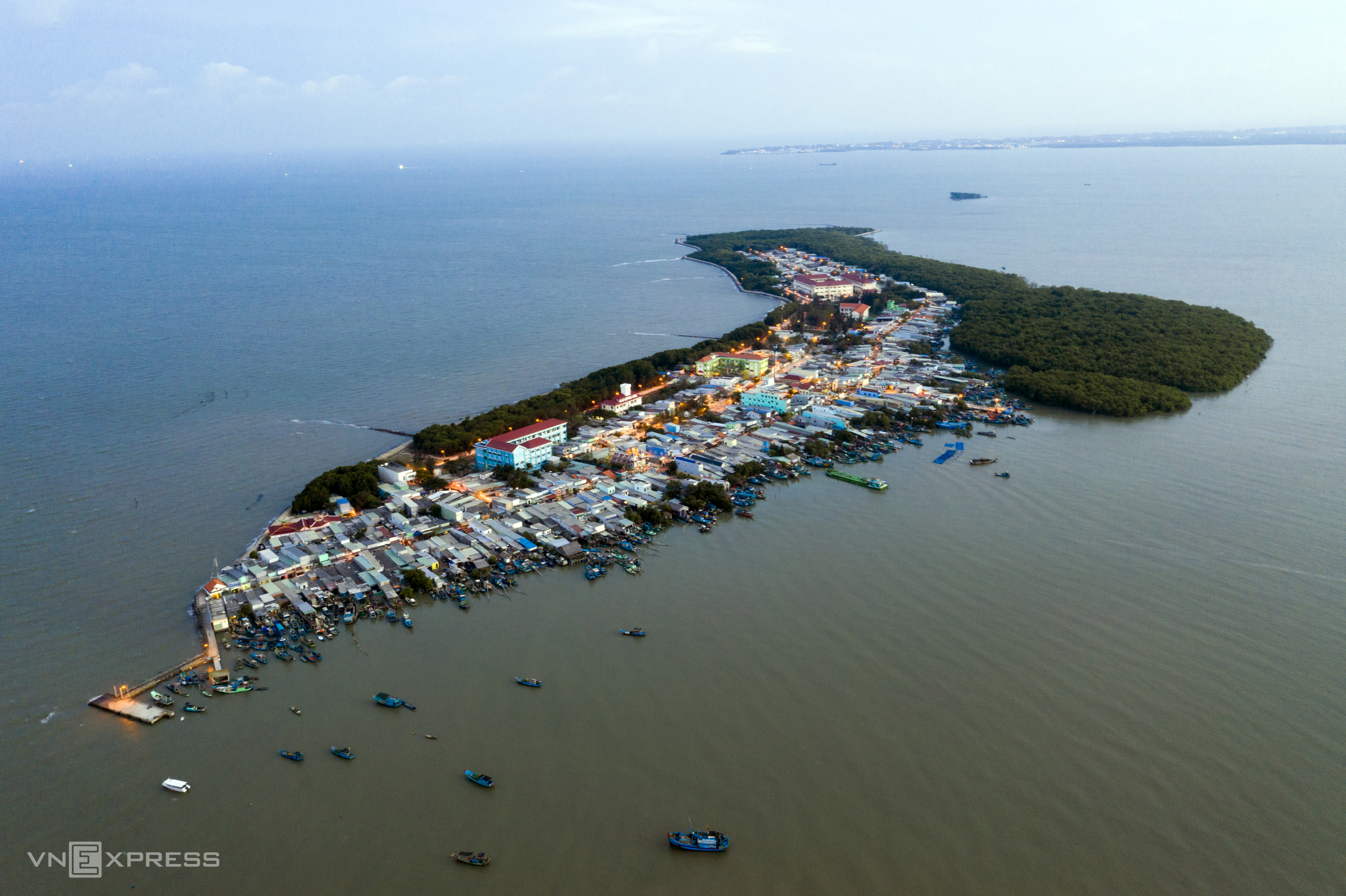 An drone shot of Thanh An island from above. It is one of six communes in Can Gio District, about 46 km southeast of HCMC.There are around 4,500 residents living on the island. Thanh An is surrounded by protective forests, with a total area of more than 13,000 hectares, accounting for 18 percent of total land area in Can Gio.