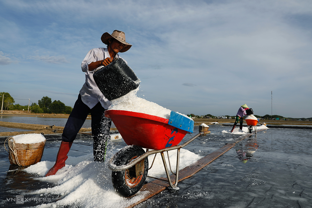 Farmers on a salt farm in Can Gio District, April 2021. Photo by VnExpress/Huu Khoa