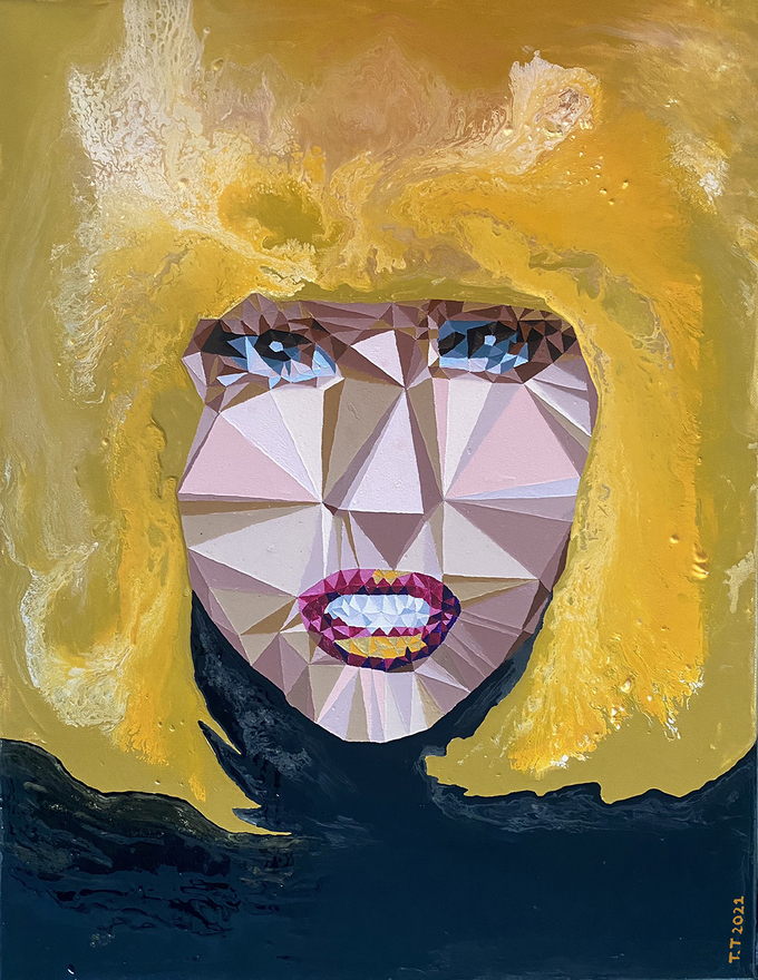 Nguyen Thu Thuy, a female artist who was born in a family very much involved in art in 1977, brings eight artworks to the exhibition.   In this painting, I am blonde, she used triangles to illustrate the woman's face.  I think women are able to wear masks, what they show is just the way to hide what is in their mind.