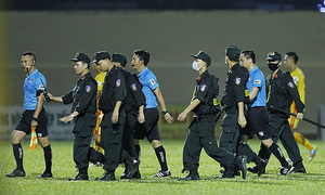 Livid HCMC FC players, referees clash after intense V. League draw