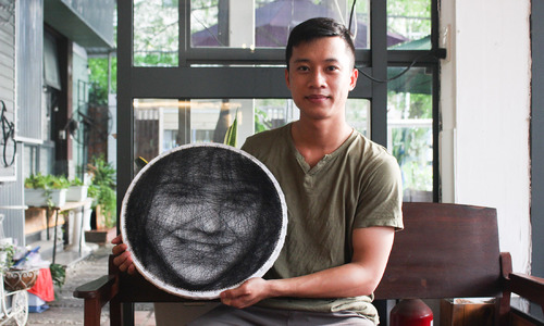 String portraits depict prominent global artists
