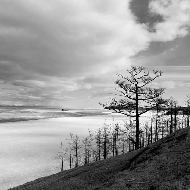 (PR) Baikal-lake landscape in winter black and white fine art