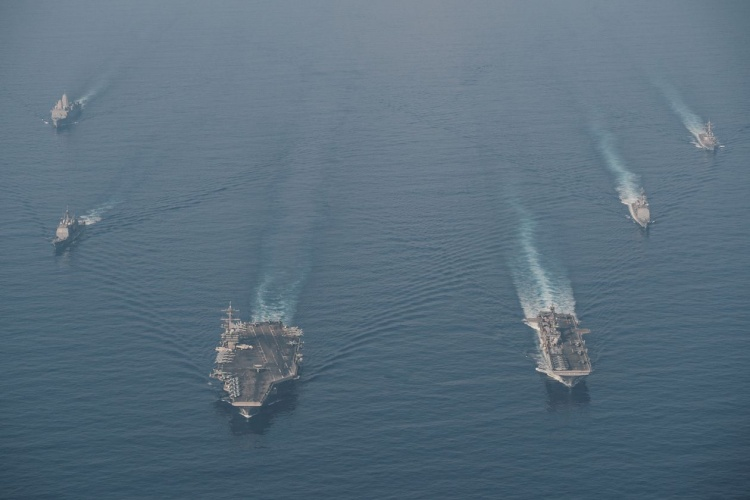 The U.S. Navy's Theodore Roosevelt Carrier Strike Group in the South China Sea earlier this month. Photo by U.S. NAVY.
