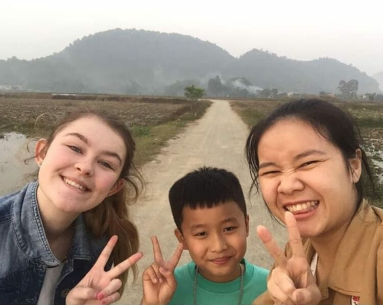 Rebecca Jennings (L) with her friends in Thanh Hoa Province in central Vietnam in 2019. Photo courtesy of Rebecca Jennings.