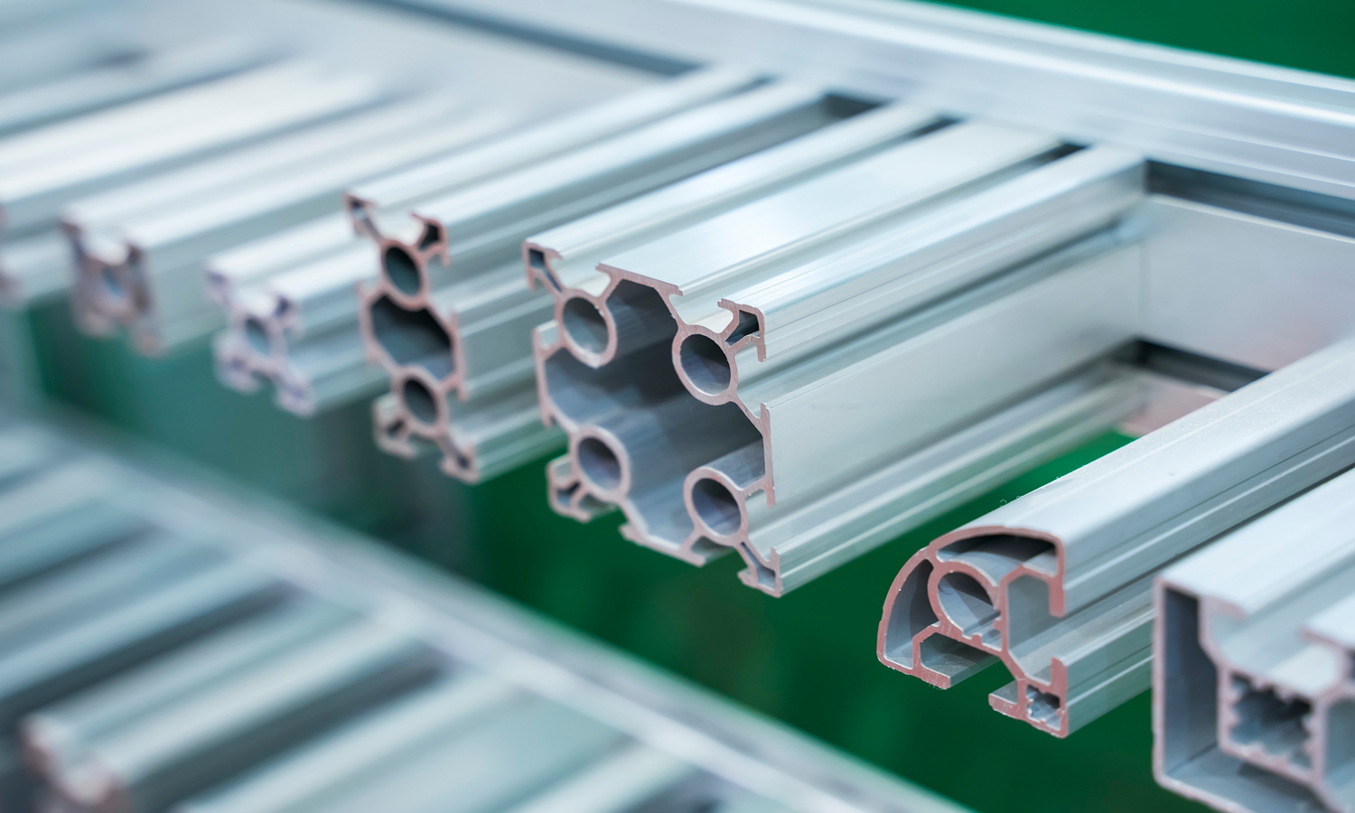 A close up of extruded aluminium. Photo by Shutterstock/asharkyu.