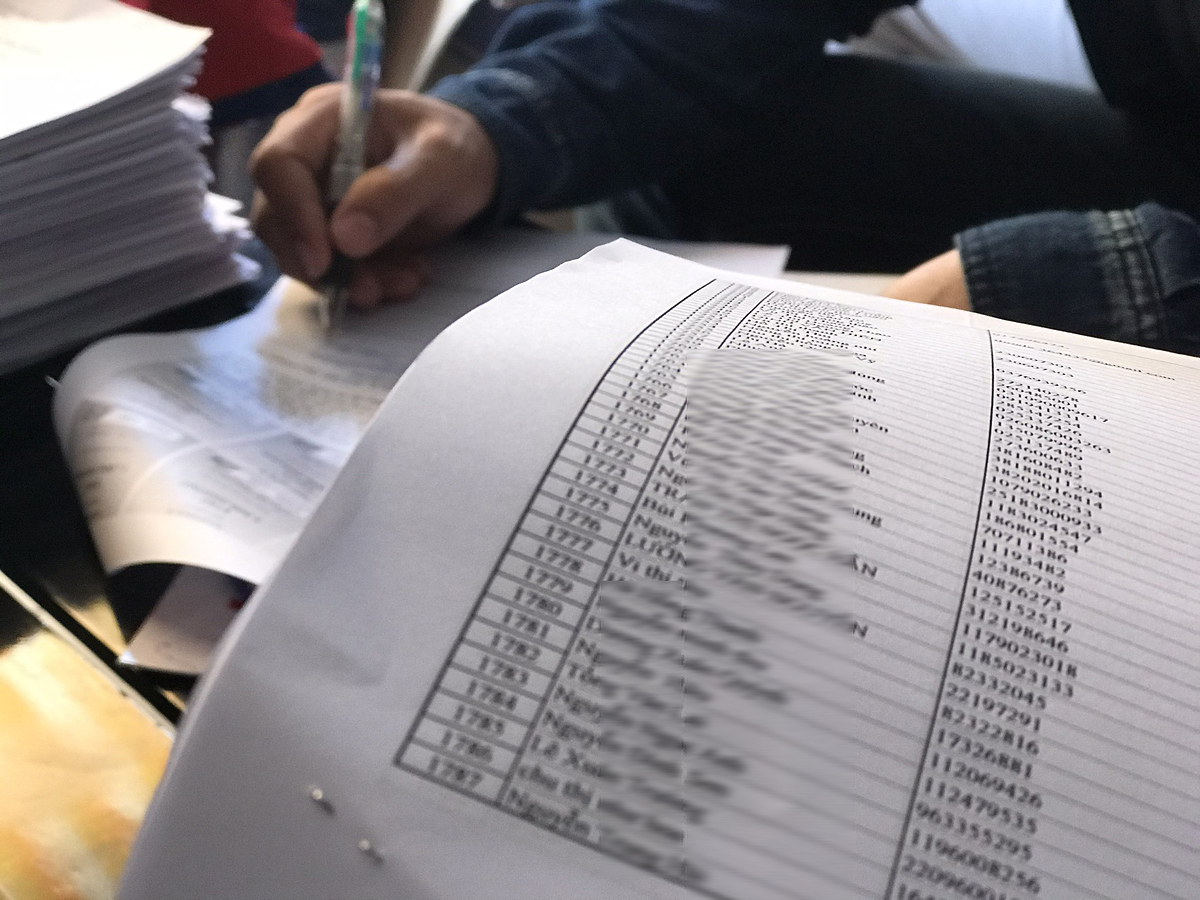 A censored list of over 1,800 names of Coolcats victims. Photo by VnExpress/Viet Anh.