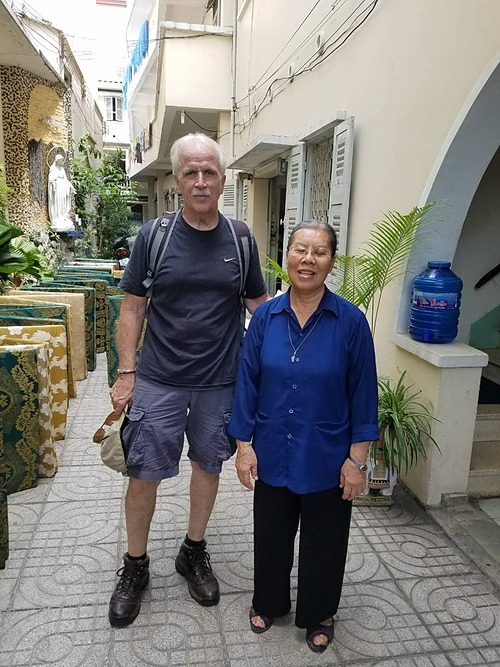 Charlie Bowland with a nun at a church in HCMC in 2019. Photo courtesy of Charlie Bowland.