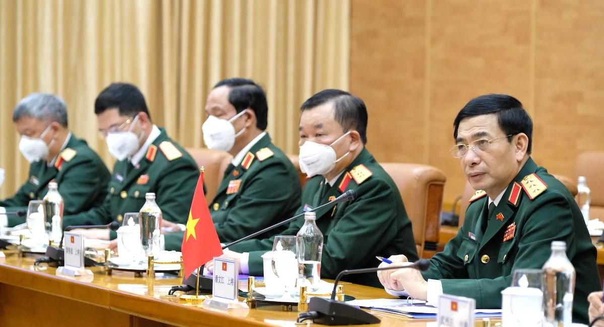 Vietnamese Minister of Defense Phan Van Giang and the Vietnamese delegation, April 25, 2021. Photo by VnExpress/Hoang Thuy.