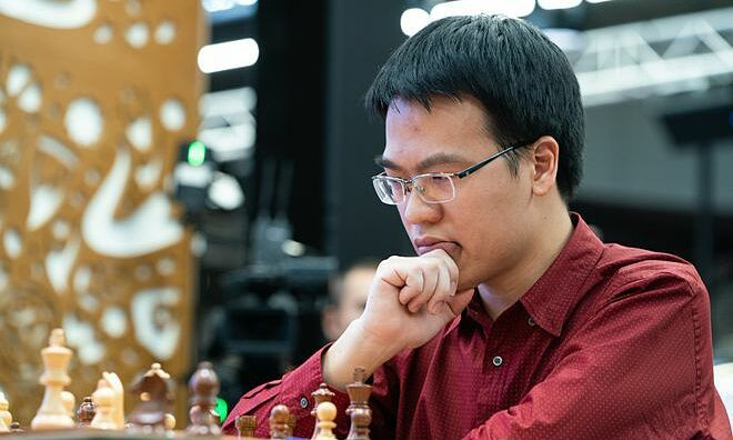Le Quang Liem currently peaks at 13th among the 16 players. Photo courtesy of the International Chess Federation.