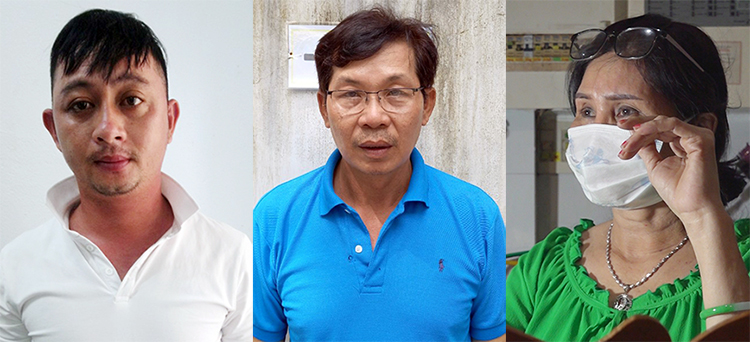 From left to right: Nguyen Van Ut, Nguyen Nhu Nho and Nguyen Thi Kim Huy at a police station in An Giang Province. Photo by VnExpress/An Phu.