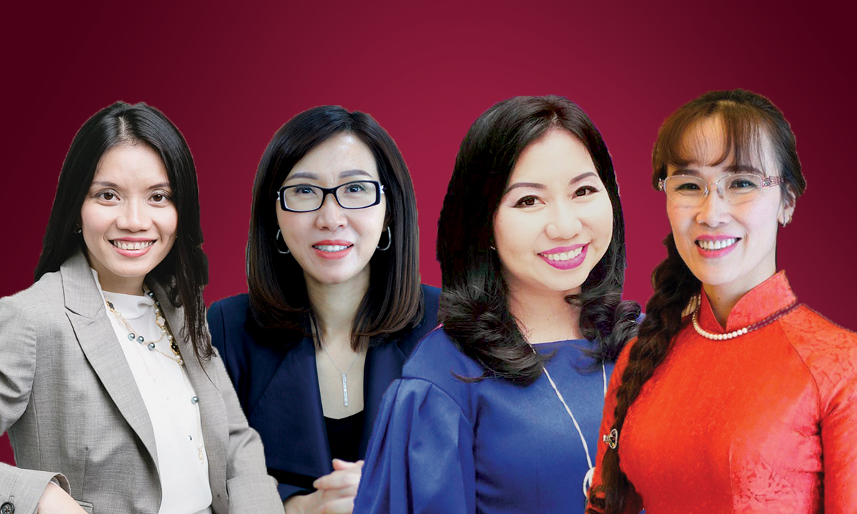 From left to right: co-founder and CEO of ELSA Van Dinh Hong Vu, chairwoman and CEO of NutiFood Tran Thi Le, founder and CEO of InnEdu To Thuy Diem Quyen, Vietjet CEO Nguyen Thi Phuong Thao. Photo designed by VnExpress/Dat Nguyen.