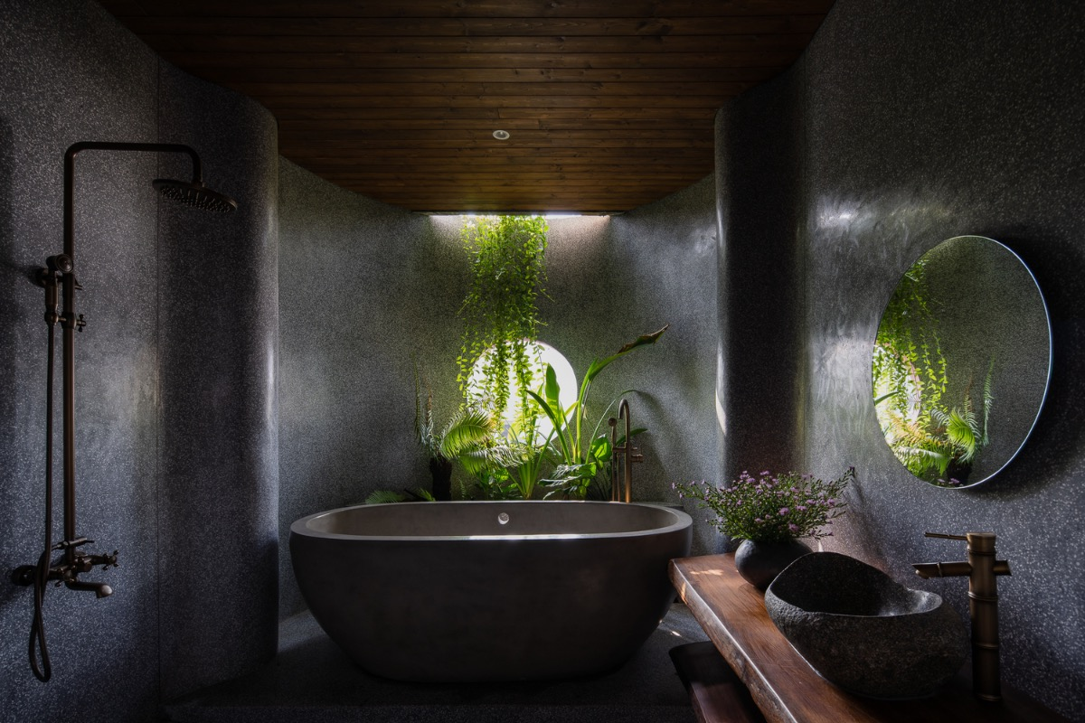 Bathroom with a green view.