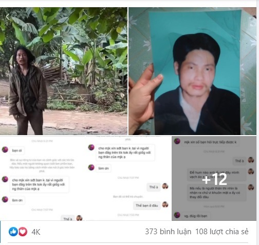 Tuyets Facebook post with photos of the man, his portrait when he was young, and her conversation with the wife. Photo courtesy of Nguyen Anh Tuyet.
