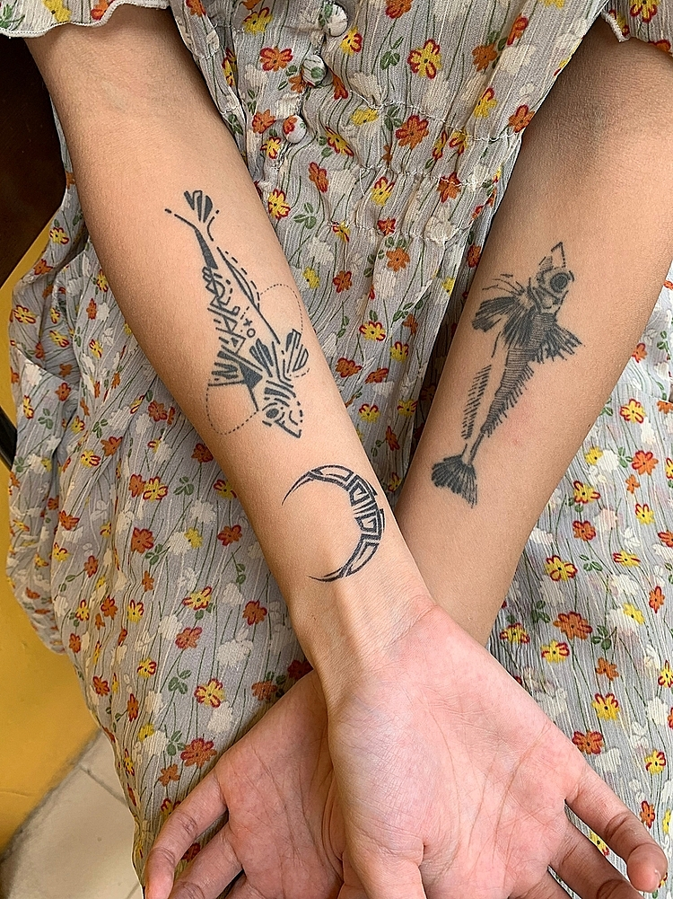 For Tran Anh Tu, 25, of Hanoi, tattoos are messages that remind her to stay true to herself. Photo by VnExpress/ Minh Trang.