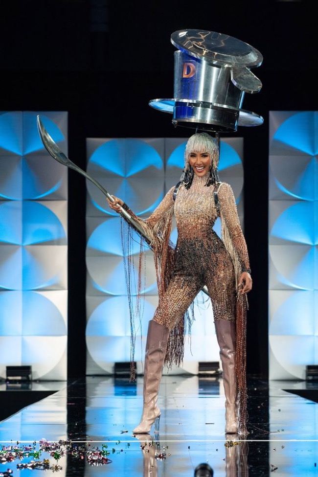 At Miss Universe 2019, Hoang Thuy made an impression with her audacious filter coffee-inspired costume. Designed by Tran Nguyen Minh Duc, the costume features a bedazzled jumpsuit with lots of beading and details, the spoon and headpiece. There was originally a skirt representing a cup, but Thuy reportedly found it difficult to walk in.Her costume made it to the Instagram page of the beauty contest while online beauty pageant magazine Missosology named Thuy as one of its 10 finalists of Miss Universe 2019. Photo courtesy of Miss Universe.