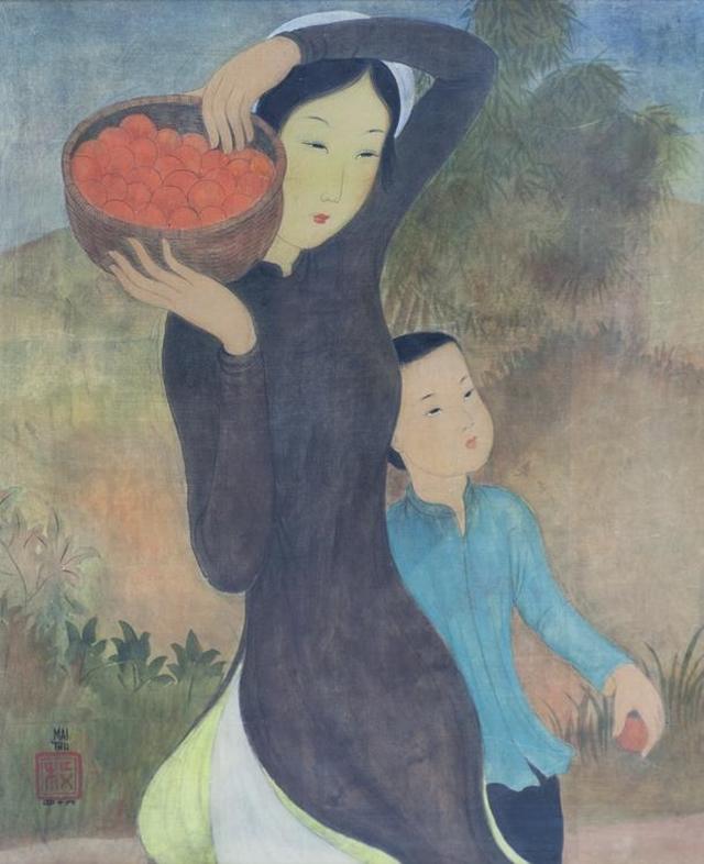 Mère et Enfant, panier de fruits (Mother and Child, fruit basket) by Mai Trung Thu. Photo courtesy of the exhibition.