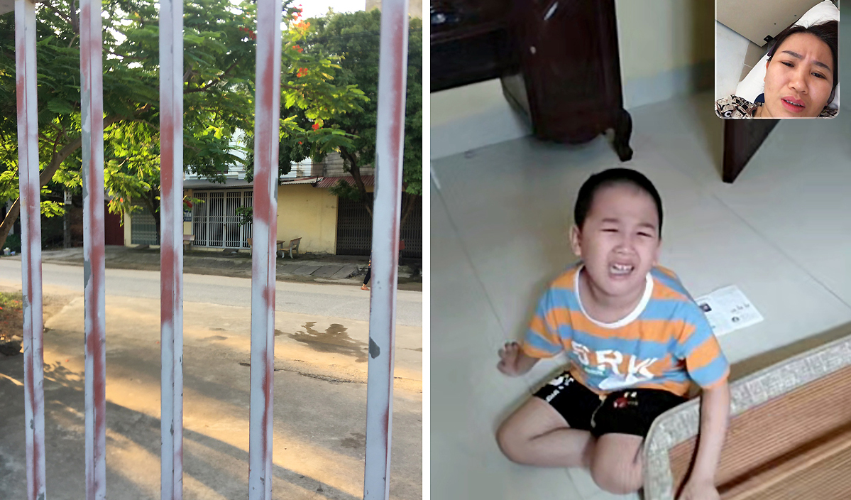 Tran Thi Hien in a video call with her son in their house opposite the field hospital where she works in Bac Giang Province. Photo courtesy of Hien.